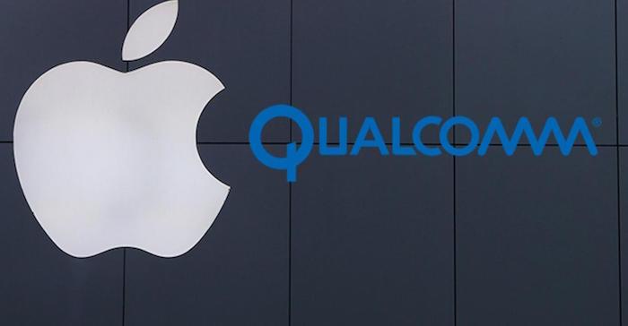 image logo Apple et Qualcomm pour illustration conflit juridique autour des puces brevets et licences et remise en vente en Allemagne des anciens Iphones avec nouvelles puces