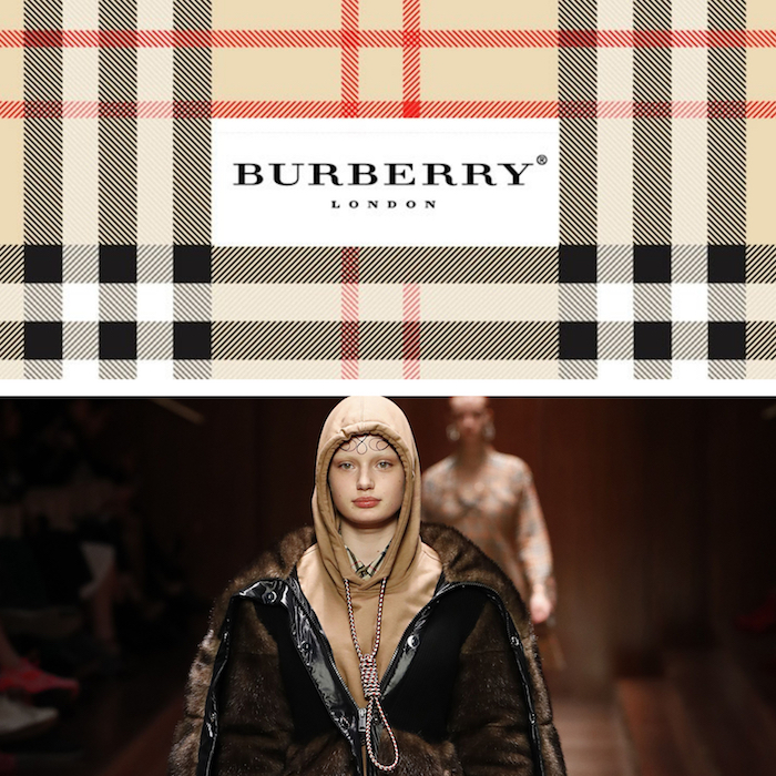 collage logo Burberry et défilé fashion week Londres 2019 avec sweat à capuche à corde noeud coulant polémique