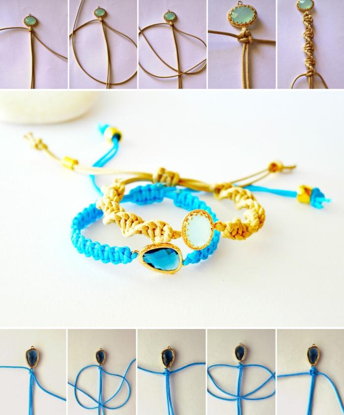 pas à pas noeud macramé facile, faire un noeud plat twisté, modèle de bracelet en fil de soie avec cristal et fermeture réglable