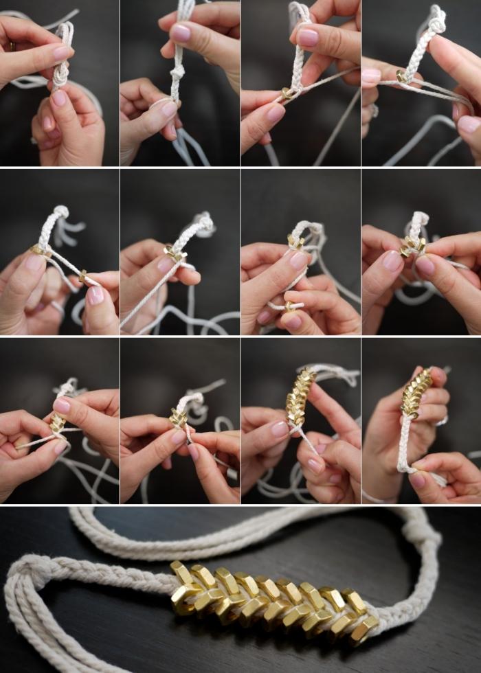pas à pas pour créer un bijou original, macramé tuto facile, technique de fabrication bracelet en corde avec ornements dorés