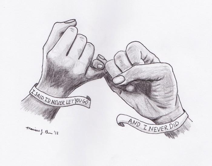 deux auriculaires qui s entrecroisent, idee dessin mains style graphique et des bracelets avec texte d amour écrit dessus
