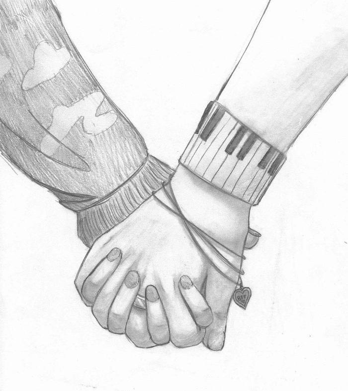 amour entre fille et garçon main dans la main, idée de dessin main feminine et masculine style graphique et collier avec petit coeur