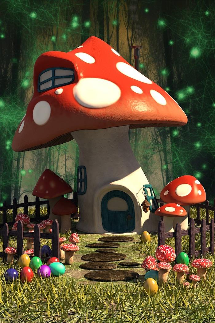 Champignon dans la foret qui est la maison magique de quelqu'un de conte de fée, chemin au chocolat de la maison