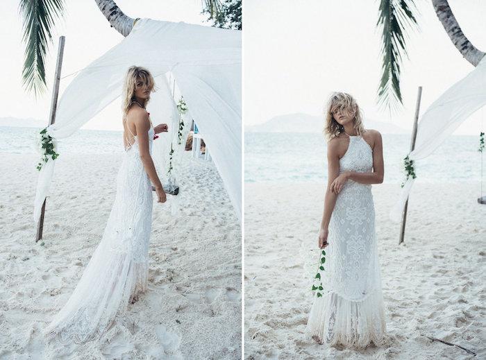 Mariage sur la plage, chic robe blanche dentelle, robe bohème chic en dentelle féminine
