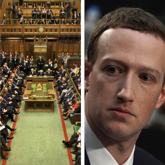 photo parlement britannique house of commons après rapport comité anti fake news qui qualifie Facebook de gangsters numériques