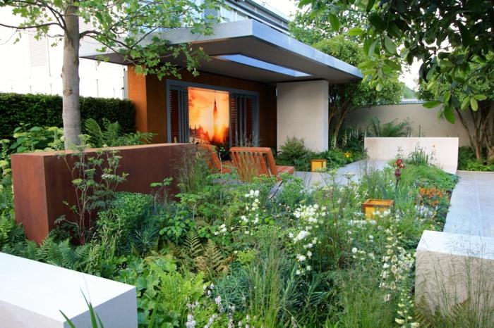 créer un massif de fleurs contemporain, maison moderne, jardin original aux traits modernes