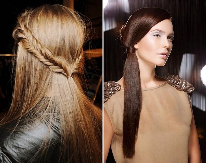 comment porter les cheveux raides en queue de cheval, idée coiffure bohème chic aux cheveux lâchés avec tresse, exemple lissage keratine
