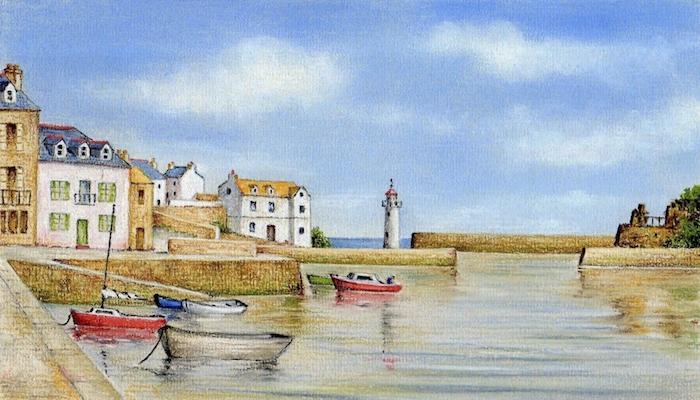 Merveilleux paysages de port avec petits bateaux, dessin de paysage beau et simple au bord de la mer avec ciel bleu et nuages blanches