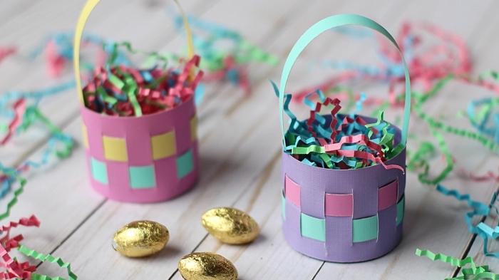 idée activité paques maternelle, fabriquer un panier pour oeufs facile en papier cartonné, modèle de papier en carton