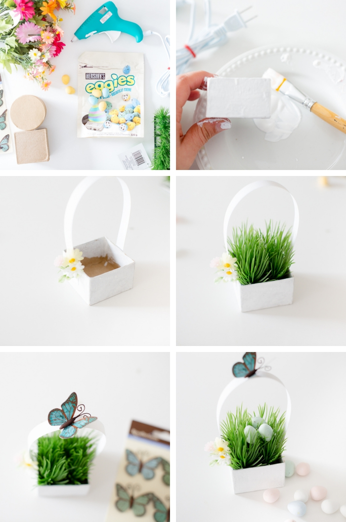 comment faire un mini panier pour oeufs en chocolat, créer une mini deco table paques avec boîte en carton et fausse herbe