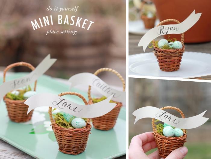 panier de paques maternelle, décorer un mini panier tressé naturel avec étiquette et oeuf bonbons en chocolat