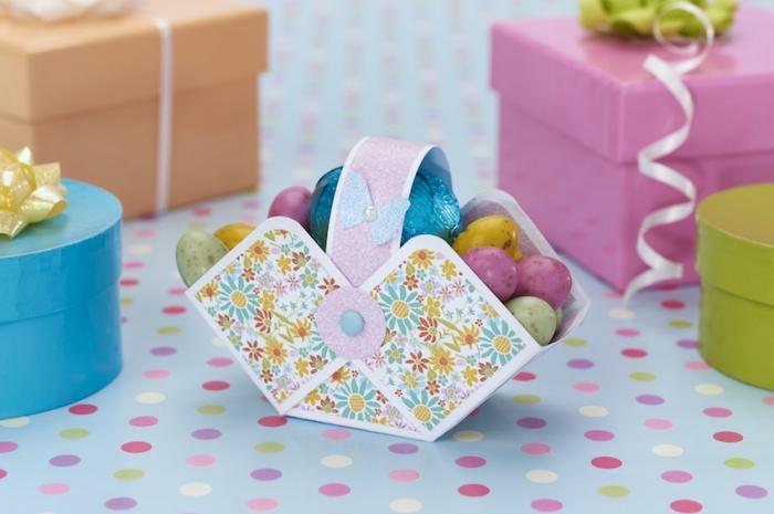 bricolage de paques avec papier, idée pour réaliser un panier en papier scrapbooking avec déco en mini papillon et perle