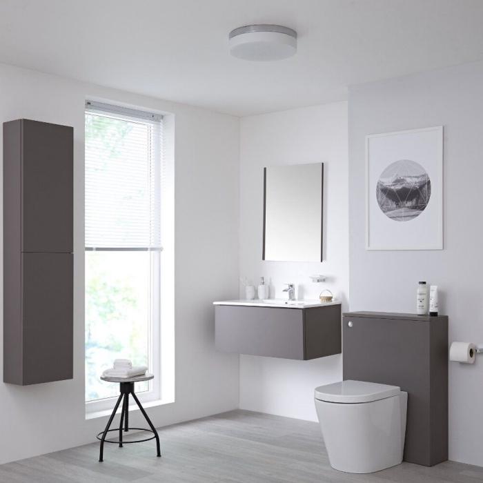 comment associer le blanc et le gris dans la déco, idée décoration salle de bain blanche avec meubles en gris mate