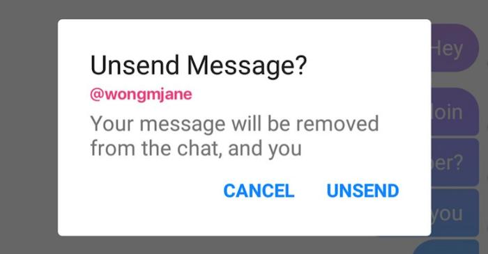 photo capture écran iphone de la nouvelle fonction de suppression de messages de Messenger après mise à jour