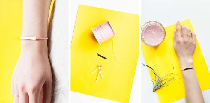 idée bracelet en macramé à faire soi-même, modèle de bracelet en fil rose fin tressé avec ébauche dorée, diy bijou en fil rose
