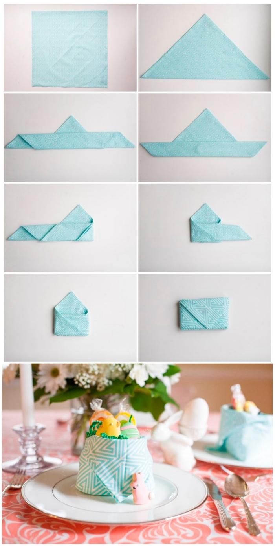 pliage serviette paques original pour réaliser un panier à bonbons, serviette graphique couler bleu ciel pliée en panier