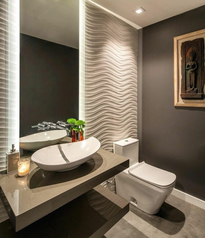 amenagement toilettes moderne, peinture pour toilette gris anthracite, panneau décoratif, intérieur en taupe et gris