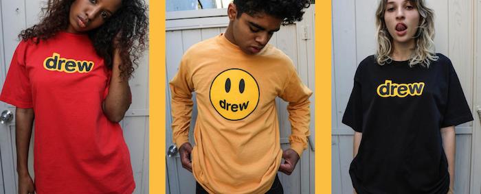 capture du site officiel de Drew, la marque de justin bieber et sa collection de tee shirts made in los angeles
