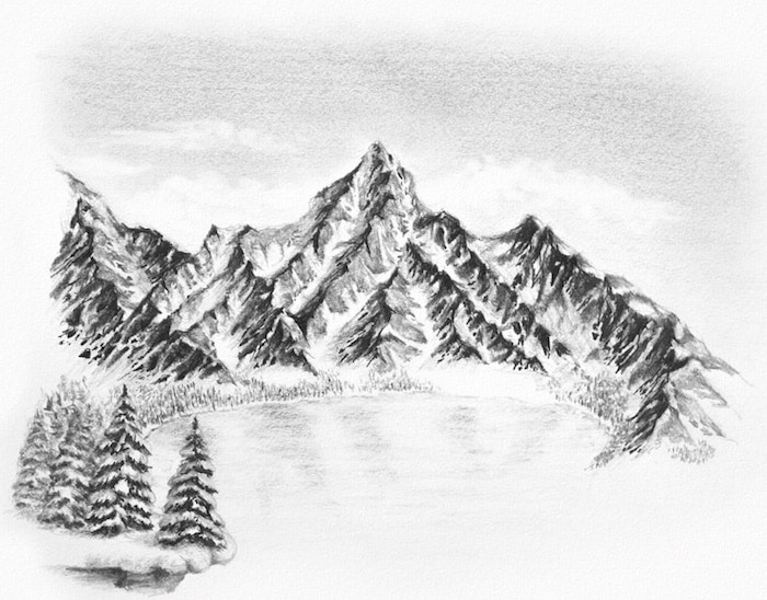 Montagnes enneigées, lac glacé dessin montagne, dessin neige, papier et crayon dessin facile a faire et beau, dessin de paysage