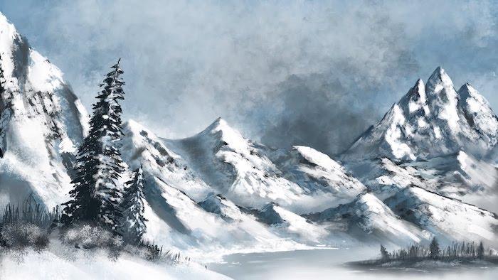 Neige et montagnes dessin, comment faire soi meme un dessin de paysage enneigé avec les montagnes et le lac
