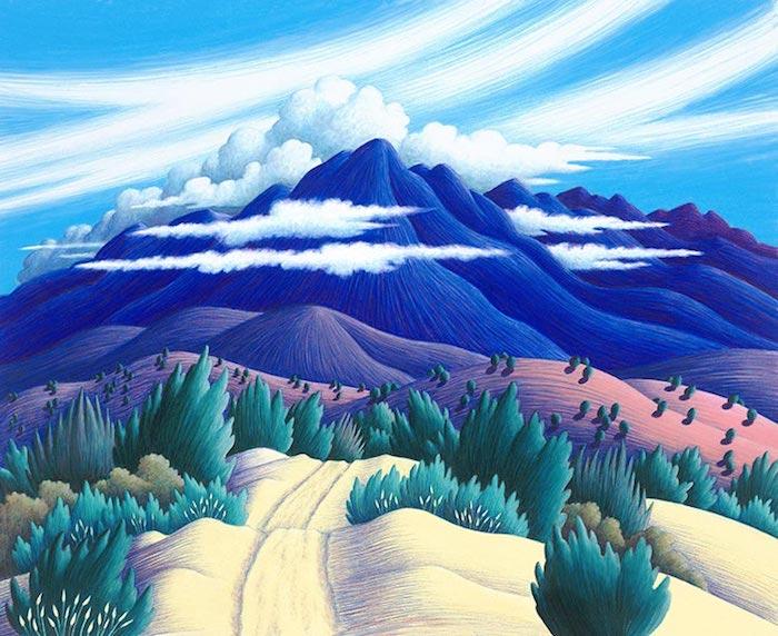 Montagne dans les nuages, chemin dessin simple en perspective, comment dessiner un paysage, idée dessin de paysage