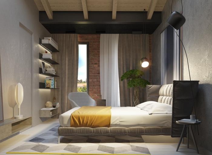 comment aménager une chambre à coucher contemporaine, déco pièce avec meubles bois et gris, exemple peinture effet sable