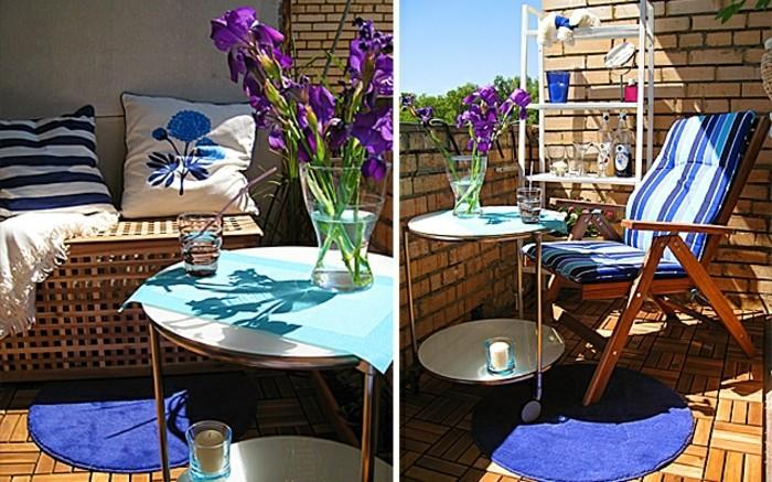 aménagement balcon étroit en murs de briques, revetement sol de bois, coussins décoratifs en blanc et bleu, table basse à roulettes, vase de fleurs