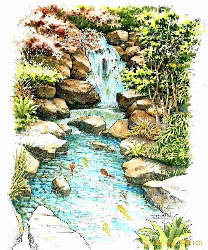 Riviere et chute d'eau paysage dessin chouette coloré, beauté dans la nature, dessin de paysage facile et beau