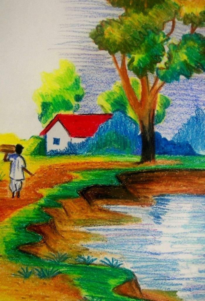 Coloré dessin facile et beau, image paysages d'été, lac champs et arbres, homme qui travaille