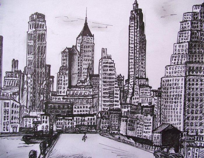 New yorkais paysage urbain, ville dessin facile et beau, image de dessin beau