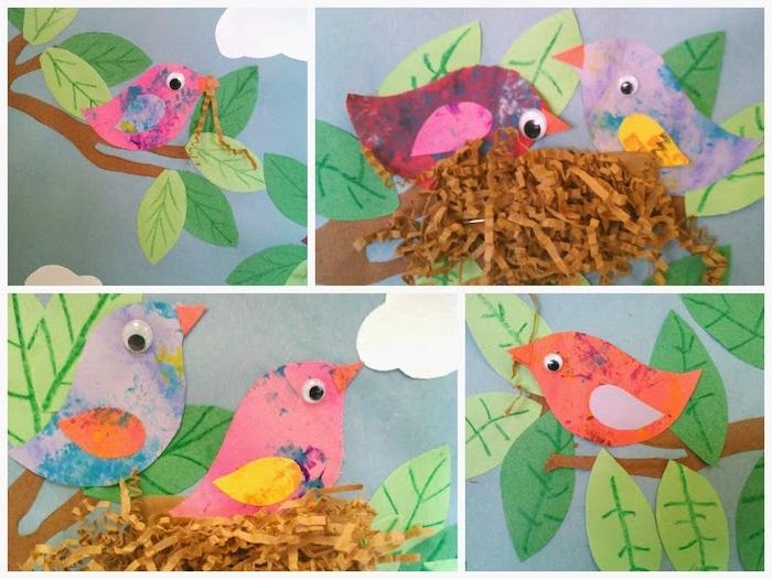 nid en confettis de papier marron, oiseau en papaier avec des yeux mobiles, branche d arbre aux feuilles vertes de papier