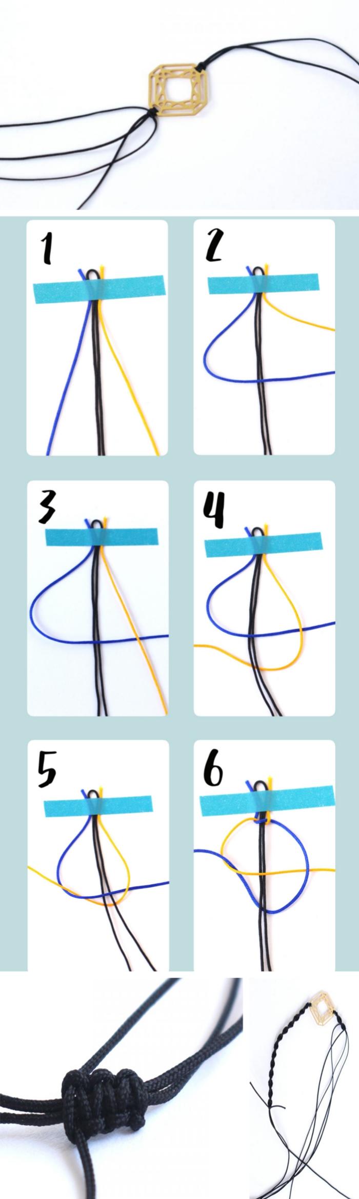 étapes à suivre pour faire un noeud macramé facile, pas à pas tressage macramé pour créer un bracelet en fil coton