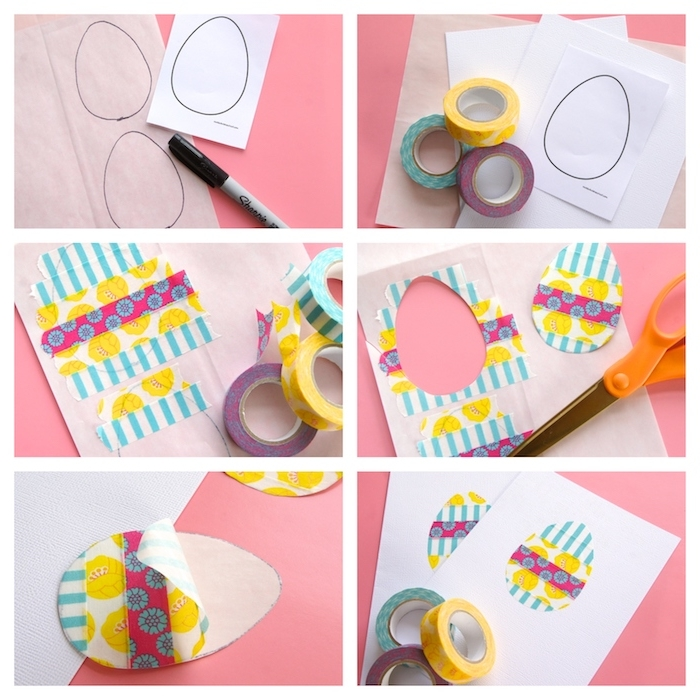 carte de paques à motif oeuf coloré décoré à bandes de washi tape à motifs variés, bricolage de paques pour enfant facile