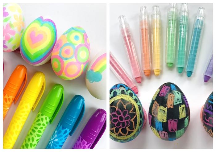 oeufs de paques colorés aux indélébiles marqueurs et des oeufs à la peinture ardoise avec des dessins à la craie, decoration paques facile