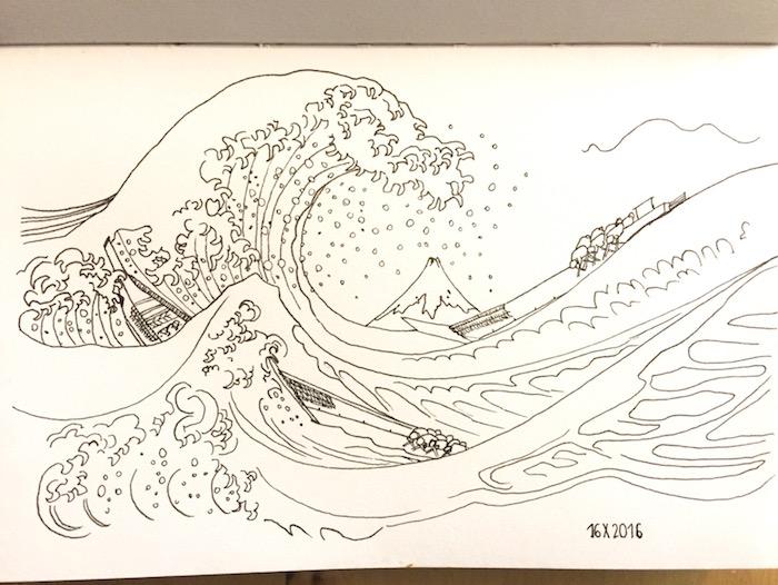 Onde hokusai le meilleur dessin mer, dessin facile et beau, la plus belle image de nature du monde