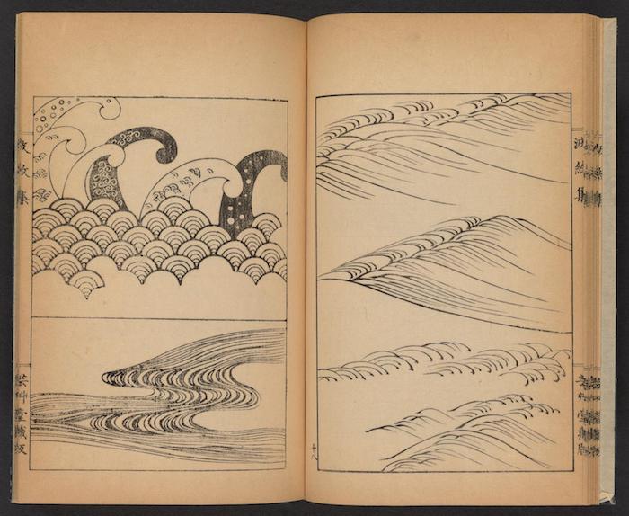 Les differentes moyens de dessiner une vague stylisée, dessin en perspective, dessin facile et beau que dessiner