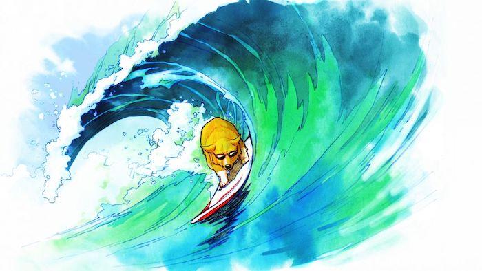 Chien surfing grande vague, dessin chien et mer, dessin facile et beau débutant dans le dessin coloré