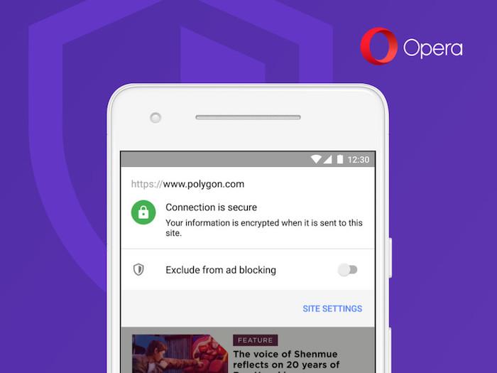 image illustration navigateur avec mise à jour Opera 50 Android avec bloqueur de publicité défilement rapide et Picture In Picture mode