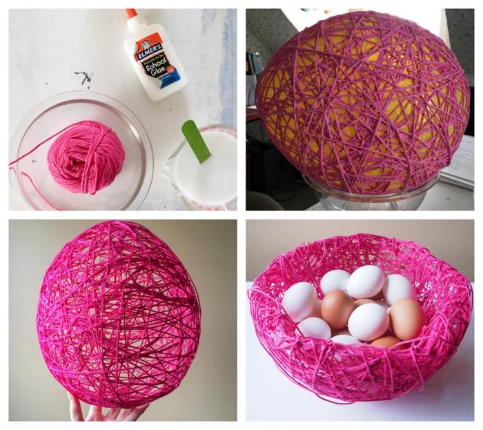 panier de paques e, fil rose à faire avec un ballon et colle, oeufs posés dans le panier