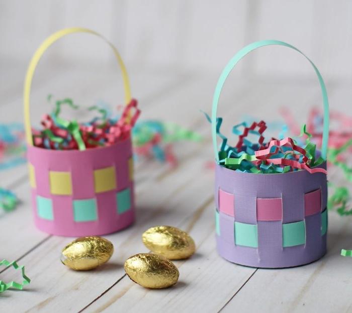 panier en papier mousse coloré avec des confettis colorés. panier de paques maternelle comment faire