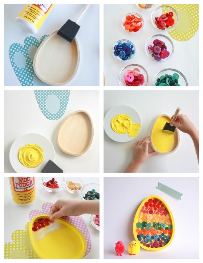 exemple d activité manuelle primaire sur theme paques avec une assiette en forme d oeuf en bois repeinte de peinture jaune et decoration de boutons colorés collés
