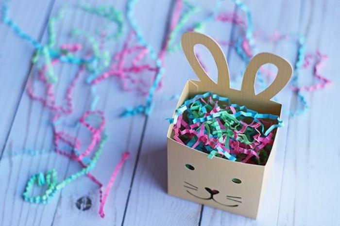 panier lapin en papier, plein de bandes de papier coloré, décoration de pâques à faire soi-même