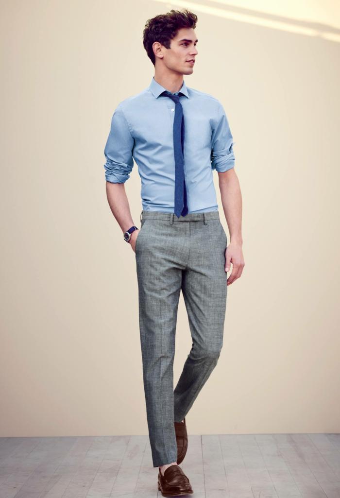 quelle couleur de vêtements pour un look professionnel, idée tenue d affaires décontractée homme en gris et bleu