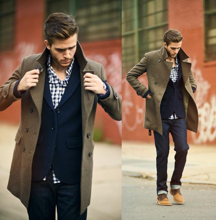 modèle de manteau long couleur vert kaki avec boutons noirs pour homme, jeans foncés avec chemise et blazer bleu