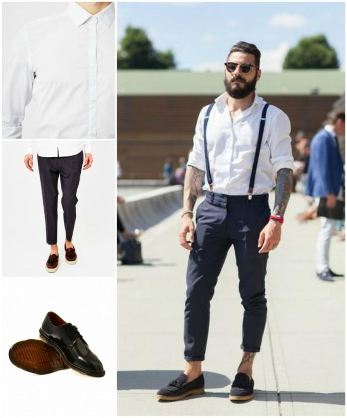 coiffure moderne pour homme avec barbe, exemple comment porter un pantalon avec bretelle et chemise de style chic décontracté