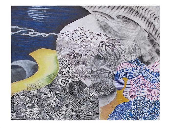 Abstrait art paysage imaginé, montagnes dessin facile a faire soi meme idee en image
