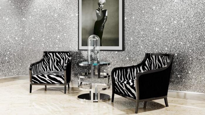 décoration de pièce féminine à effet glamour, aménagement salon aux murs à design pailleté, peinture argentée à effet glitter