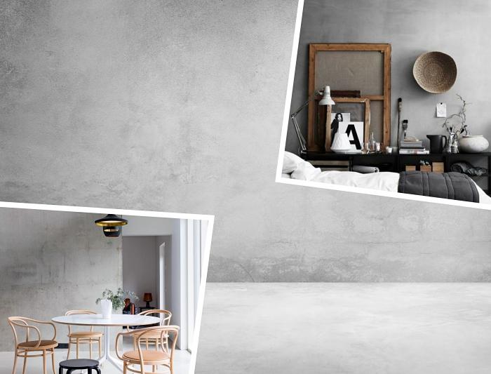 déco salle à manger aux murs gris avec meubles en bois et accessoires noir mate, idée peinture effet beton gris clair