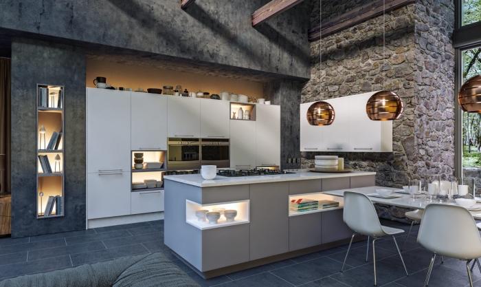design contemporain aux murs foncés dans une cuisine blanche avec îlot, idée rangement mural ouvert avec niche à éclairage intégré