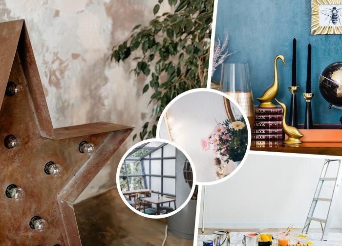 enduit décoratif intérieur à effet, accessoires de style industriel dans un salon aux murs à effet sablé, peinture bleue tendance